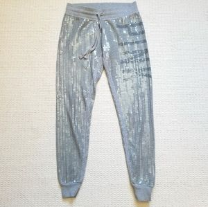 VS Pink gray sequin joggers size XS